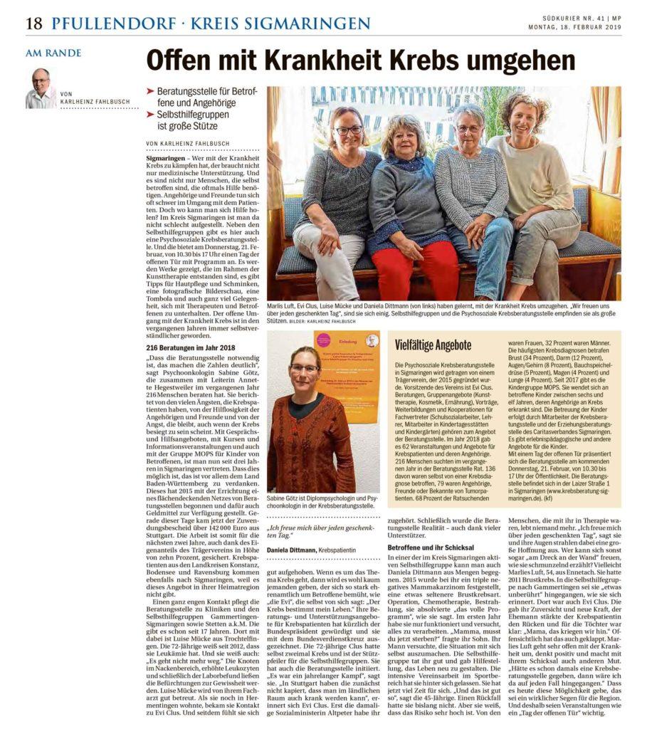 Zeitungsartikel Südkurier 18.02.2019